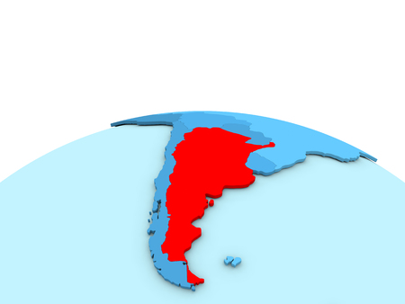 Argentina in red on simple blue political globe. 3D illustration