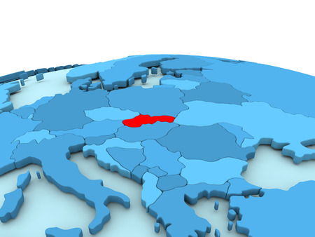 Slovakia in red on simple blue political globe. 3D illustration Stock Photo