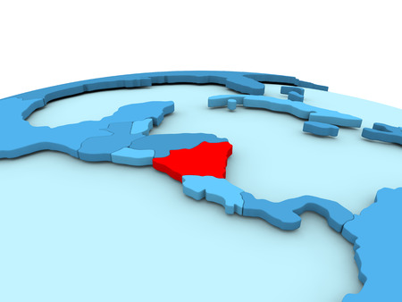 nicaragua: Nicaragua in red on simple blue political globe. 3D illustration