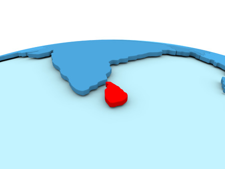 Sri Lanka in red on simple blue political globe. 3D illustration Stock Photo