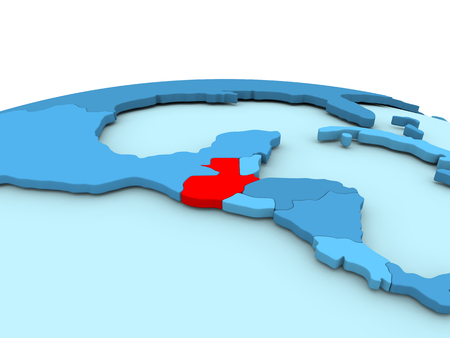 Guatemala in red on simple blue political globe. 3D illustration