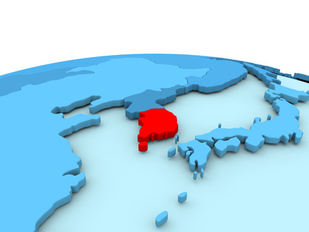 South Korea in red on simple blue political globe. 3D illustration