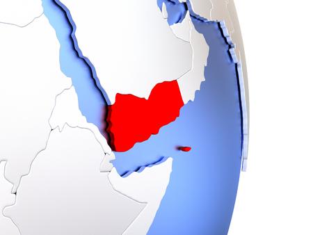 yemen: Map of Yemen on an elegant polished globe. 3D illustration Stock Photo