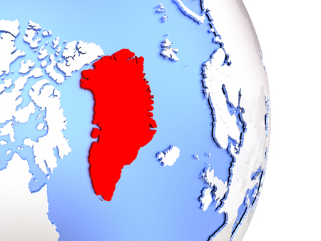 Map of Greenland on an elegant polished globe. 3D illustration Stock Photo