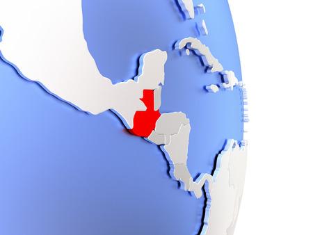 Map of Guatemala on an elegant polished globe. 3D illustration Stock Photo