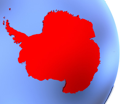 Map of Antarctica on an elegant polished globe. 3D illustration