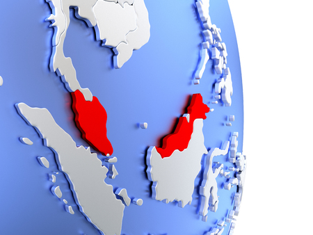Map of Malaysia on an elegant polished globe. 3D illustration