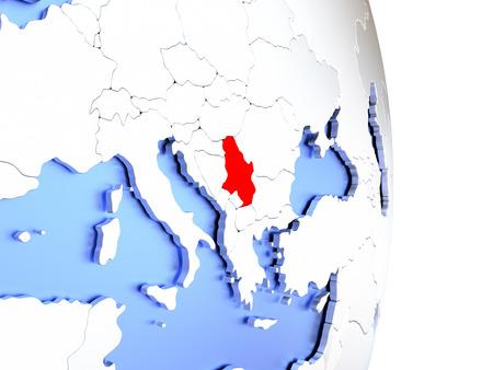 Map of Serbia on an elegant polished globe. 3D illustration Stock Photo