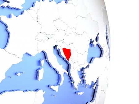 Map of Bosnia on an elegant polished globe. 3D illustration Stock Photo
