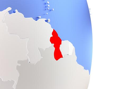 guyanese: Map of Guyana on an elegant polished globe. 3D illustration