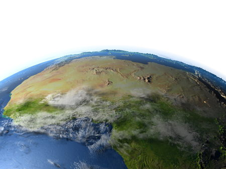 lybia: North Africa. 3D illustration with detailed planet surface.