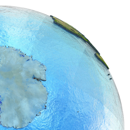 visible: Antractic on 3D model of planet Earth with watery ocean and visible country borders. 3D illustration.
