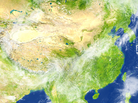 China and Mongolia region. 3D illustration with detailed planet surface. Stock Photo