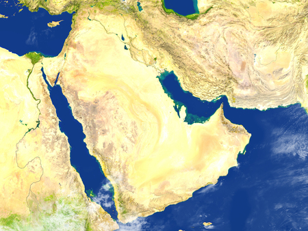 Arab Peninsula. 3D illustration with detailed planet surface.