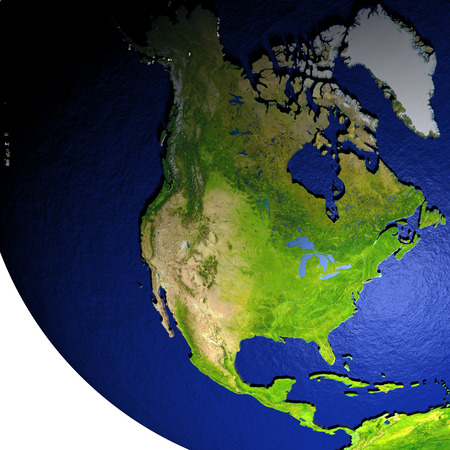 continente americano: North America on model of Earth with dark blue oceans and embossed landmasses. 3D illustration. Foto de archivo