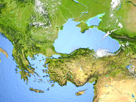 Turkey and Black sea region. 3D illustration with detailed planet surface.