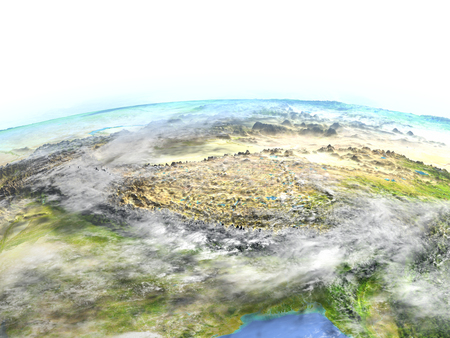 gobi: Himalayas. 3D illustration with detailed planet surface.
