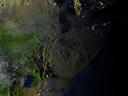 Horn of Africa on model of Earth. 3D illustration with realistic planet surface at night.
