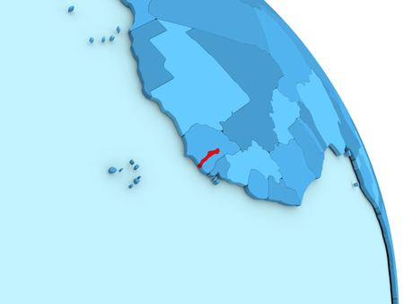 gambia: Map of Gambia on simple blue political globe. 3D illustration