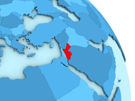 Map of Jordan on simple blue political globe. 3D illustration