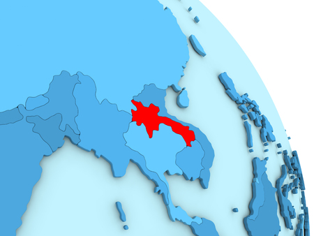 Map of Laos on simple blue political globe. 3D illustration Stock Photo