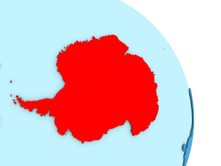 antarctic: Map of Antarctica on simple blue political globe. 3D illustration