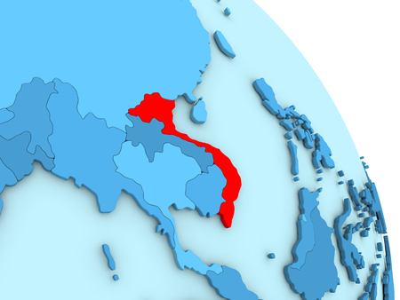 Map of Vietnam on simple blue political globe. 3D illustration Stock Photo