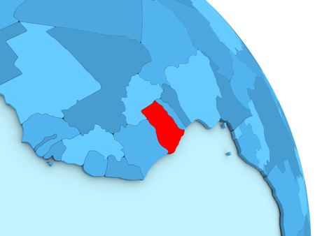 Map of Ghana on simple blue political globe. 3D illustration