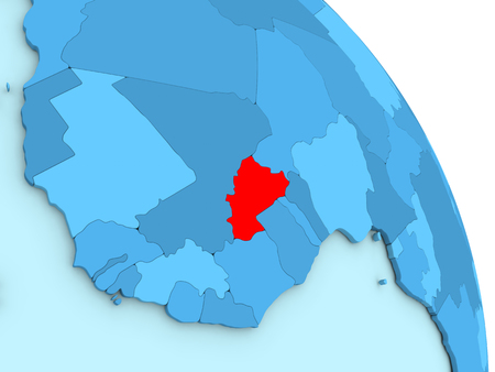Map of Burkina Faso on simple blue political globe. 3D illustration Stock Photo