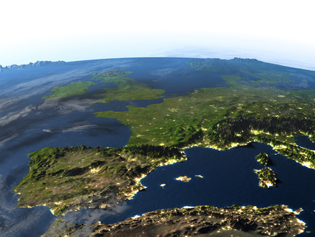 Iberia. 3D illustration with detailed planet surface and visible city lights.