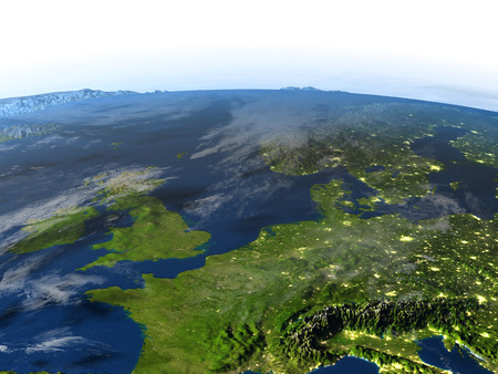manche: Western Europe. 3D illustration with detailed planet surface and visible city lights. Stock Photo