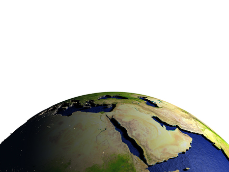 Middle East on model of Earth with dark blue oceans and embossed landmasses. 3D illustration. Lot of space left blank for your copy.