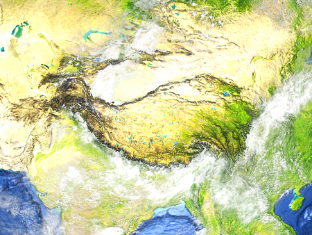 China and Mongolia region on 3D model of Earth. 3D illustration with plastic planet surface and ocean floor.