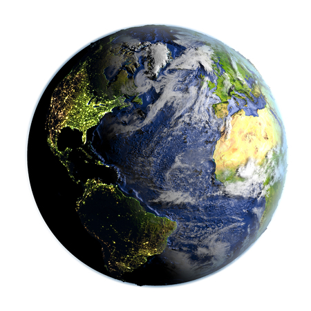 Northern Hemisphere on planet Earth on 3D model of Earth. 3D illustration with plastic planet surface and ocean floor isolated on white background. Stock Photo
