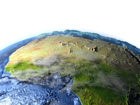 lybia: North Africa on 3D model of Earth. 3D illustration with plastic planet surface and ocean floor.