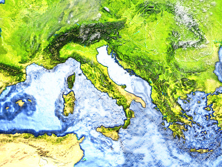 Adriatic sea region on 3D model of Earth. 3D illustration with plastic planet surface and ocean floor.