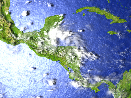 Central America on model of Earth. 3D illustration with realistic planet surface. Stock Photo