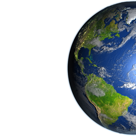 the americas: Americas. 3D illustration with detailed planet surface. Blank space for your copy on the left side. Stock Photo