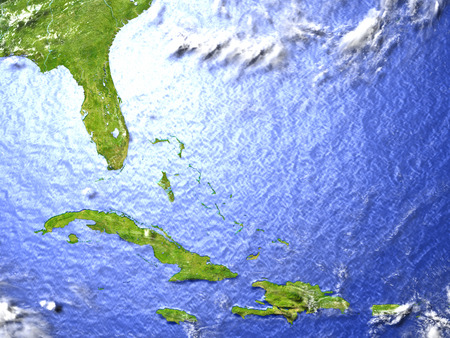 North Caribbean on model of Earth. 3D illustration with realistic planet surface. Stock Photo