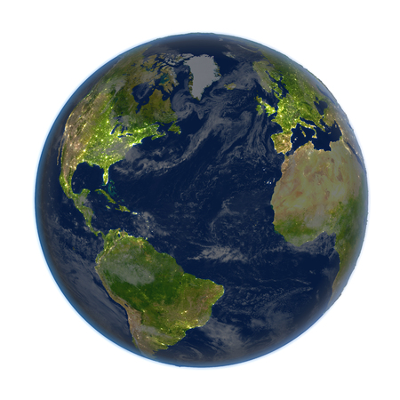 Northern Hemisphere on planet Earth. 3D illustration with detailed planet surface at night isolated on white background.