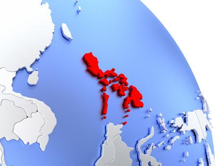 Map of Philippines on elegant shiny globe. 3D illustration
