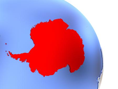 Map of Antarctica on elegant shiny globe. 3D illustration