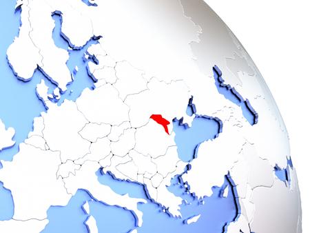 Map of Moldova on elegant shiny globe. 3D illustration