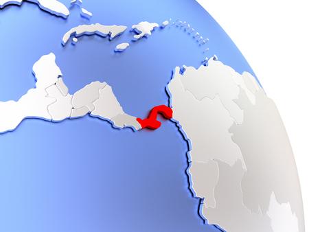 panamanian: Map of Panama on elegant shiny globe. 3D illustration Stock Photo
