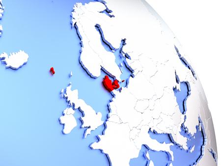 Map of Denmark on elegant shiny globe. 3D illustration Stock Photo