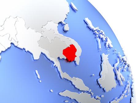 Map of Cambodia on elegant shiny globe. 3D illustration Stock Photo