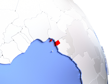 Map of Equatorial Guinea on elegant shiny globe. 3D illustration Stock Photo