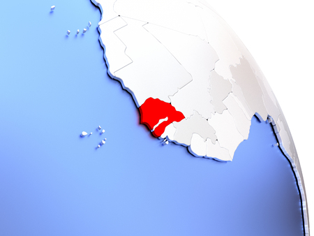 Map of Senegal on elegant shiny globe. 3D illustration