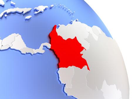 Map of Colombia on elegant shiny globe. 3D illustration