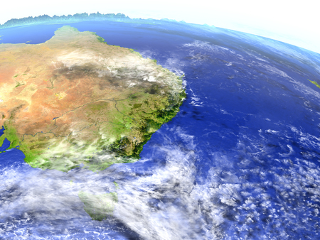 East coast of Australia on model of Earth. 3D illustration with realistic planet surface. Elements of this image furnished by NASA. Stock Photo